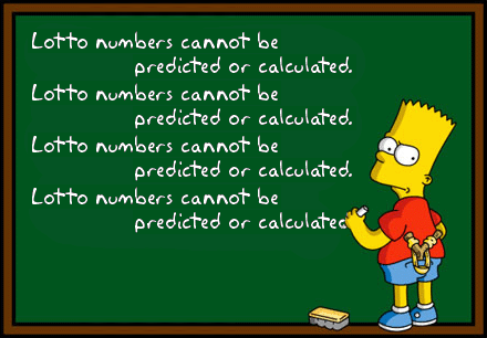 "Bart Simpson writing ""Lotto numbers cannot be predicted or calculated."""