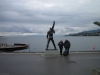 Freddie's statue beneath a cloudy sky – a few days before the FMMMD