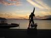 Freddies Statue bei Sonnenuntergang