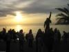 Freddies Statue bei Sonnenuntergang am Freitag.
