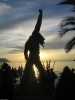Freddie's statue at sunset on Friday.