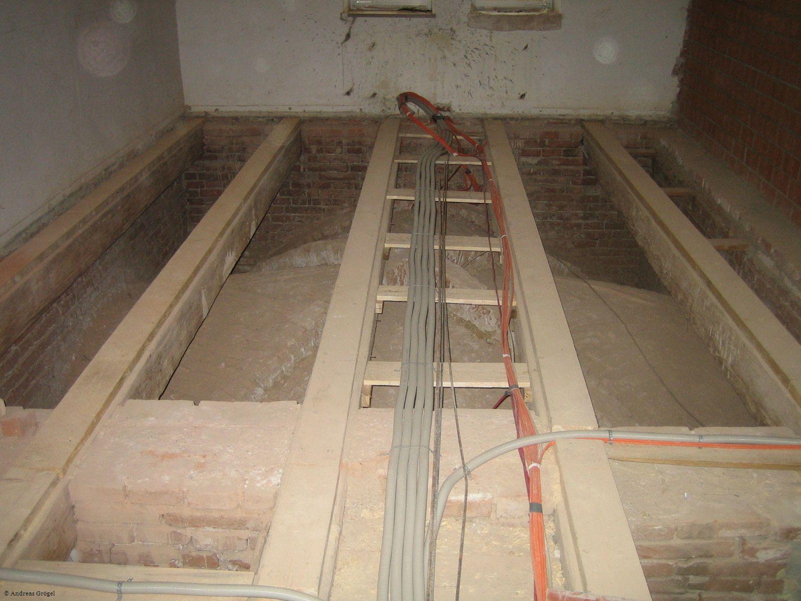 Rathaus-Baustelle Gewölbe von oben