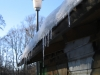 Icicles on a shed at the Gerolsbach