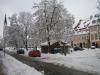 Schnee im März auf dem Hauptplatz