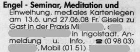 Engel-Seminar, Meditation und Einweihung, mediales Kartenlegen am 13.6. und 27.6.08. Fr. Gisela zu Gast in der Praxis M. in Ingolstadt