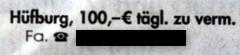 Hüfburg, 100,-€ täg. zu verm., Fa. Tel. ...