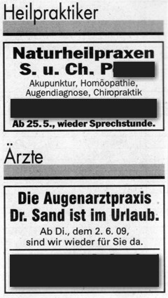 Kleinanzeige oben: Naturheilpraxen S. u. Ch. P. (Akupunktur, Homöopathie, Augendiagnose, Chiropraktik) – unten: Augenarztpraxis Dr. Sand ist im Urlaub