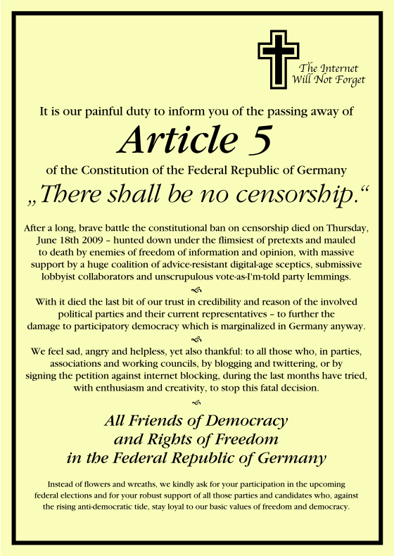 The passing away of Article 5 of the Constitution of the Federal Republic of Germany: 'There shall be no censorship.'