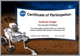 Nasa-Mars-Name Zertifikat