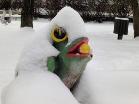 verschneiter Froschkönig