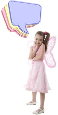 Pink Butterfly Little Girl With Colorful Message Clouds. Isolate