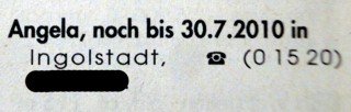 Kleinanzeige: Angela, noch bis 30.7.2010 in Ingolstadt