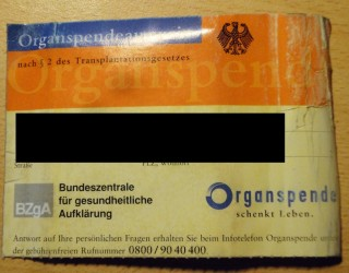 alter Organspendeausweis Vorderseite