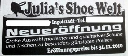 Zeitungsanzeige: Julia's Shoe Welt