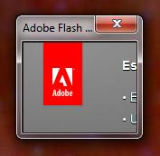 Minifenster des Adobe-Flash-Updaters, auf dem nur die Zeilenanfänge 'Es', 'E' und 'L' zu sehen sind
