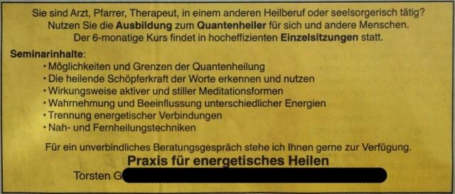 Anzeige: Ausbildung zum Quantenheiler