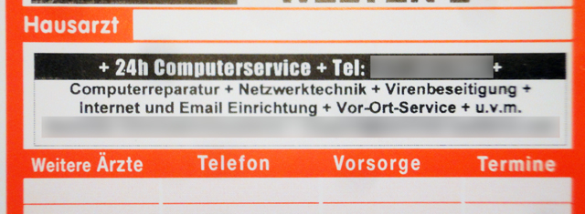 Hausarzt: eine Anzeige eines 24h-Computerservices
