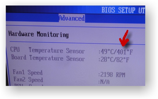 BIOS setup, Hardware monitoring page showing CPU temperature 49°C/501°F