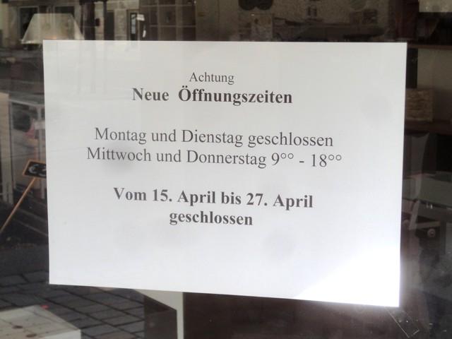 Neue Öffnungszeiten: Montag und Dienstag geschlossen, Mittwoch und Donnerstag 9-18 Uhr