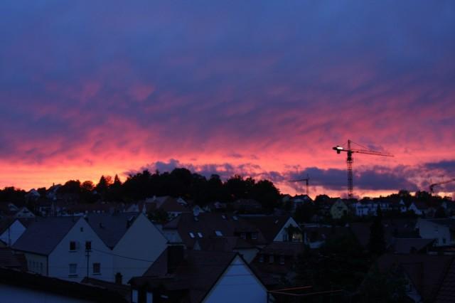 Abendrot über den Dächern von Pfaffenhofen