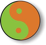 Yin-Yang in grün und orange