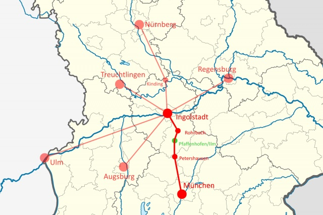 Orte auf Bayern-Karte