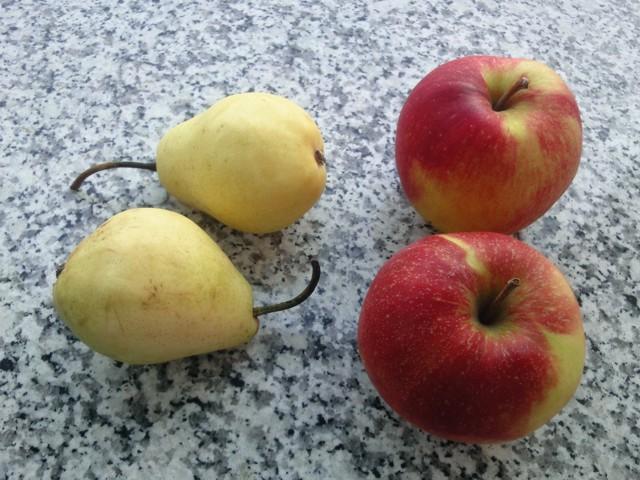 2 Birnen und 2 Äpfel