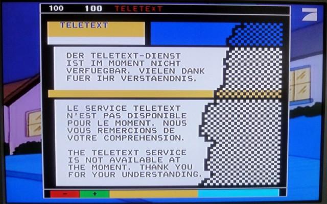 Bildschirmfoto: Der Teletext-Dienst ist im Moment nicht verfügbar. Vielen Dank für Ihr Verständnis