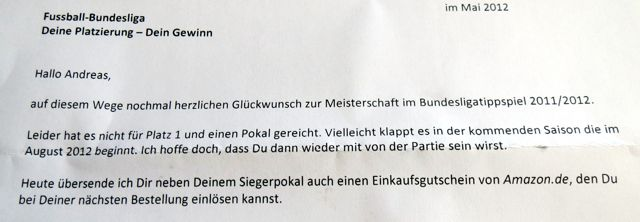 Brief zum Pokal