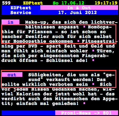 ZDF-Text Tafel 599 am 17.6.2012