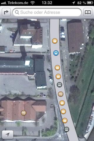 Apple Maps - Gewerbegebiet auf der Straße