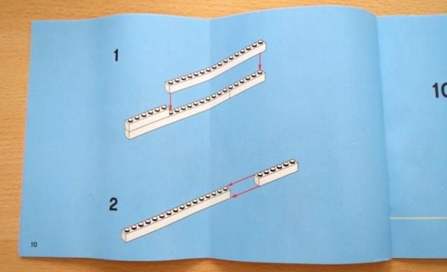 Lego-Anleitung mit 1. und 2. Schritt vertauscht