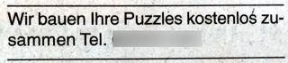 Wir bauen Ihre Puzzles kostenlos zusammen
