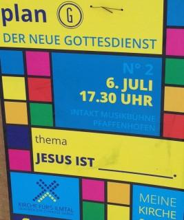 """Thema des """"neuen Gottesdienstes"""": Jesus ist _______."""