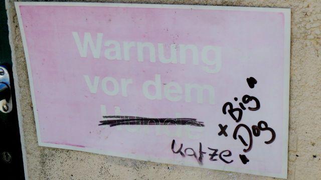 Schild: Warnung vor dem (durchgestrichen) Hunde, handschriftlich: Katze, später + Big Dog in Anführungszeichen