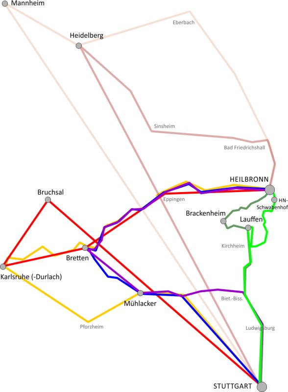 Verbindungen Stuttgart - Heilbronn während Bauarbeiten
